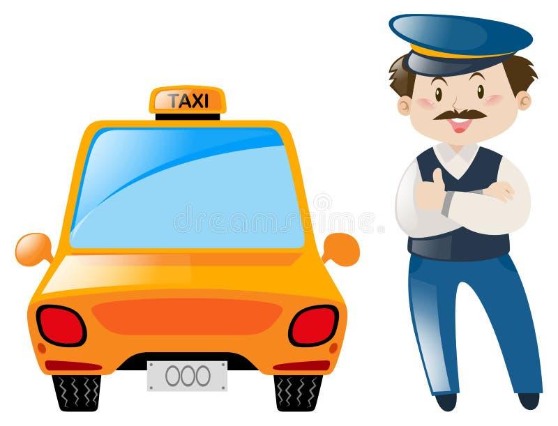 Le chauffeur de taxi se tiennent prêt le taxi illustration libre de droits