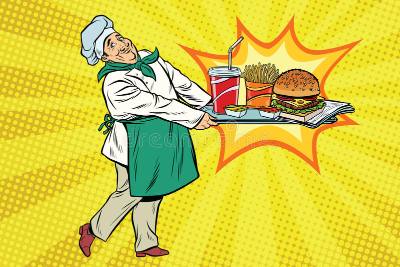 Le chef apporte un plateau des aliments de préparation rapide illustration stock