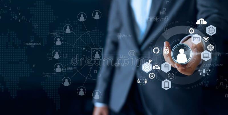 Le chef de file des affaires choisissent le meneur d'équipe de personne sur le social photographie stock