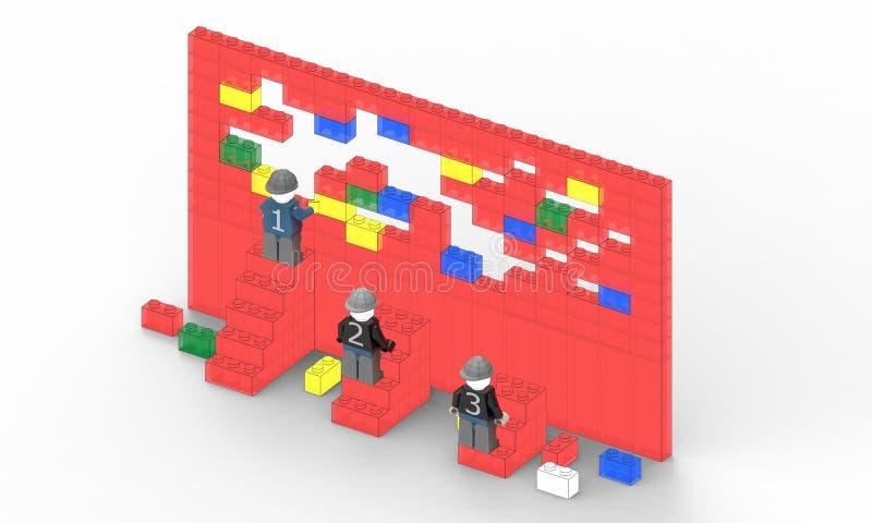 Le chef de file des affaires et un mur rouge créatif représente l'avancement illustration libre de droits