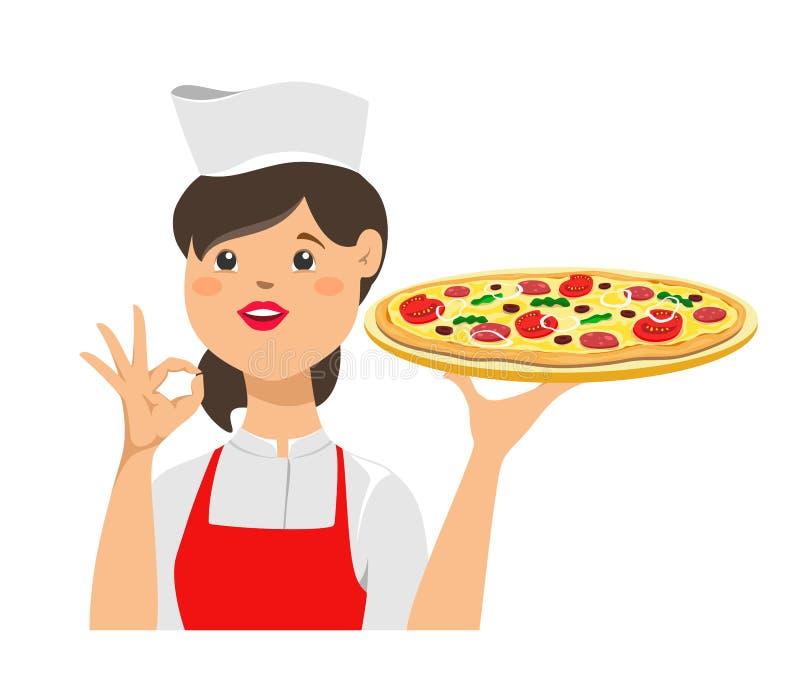 Le chef de fille tient une pizza et avec un ok pour se connecter sa main Illustration de vecteur sur le fond blanc illustration stock