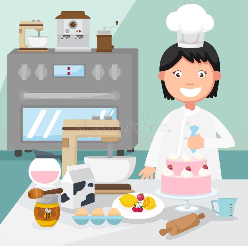 Le chef de pâtisserie décore un gâteau illustration stock