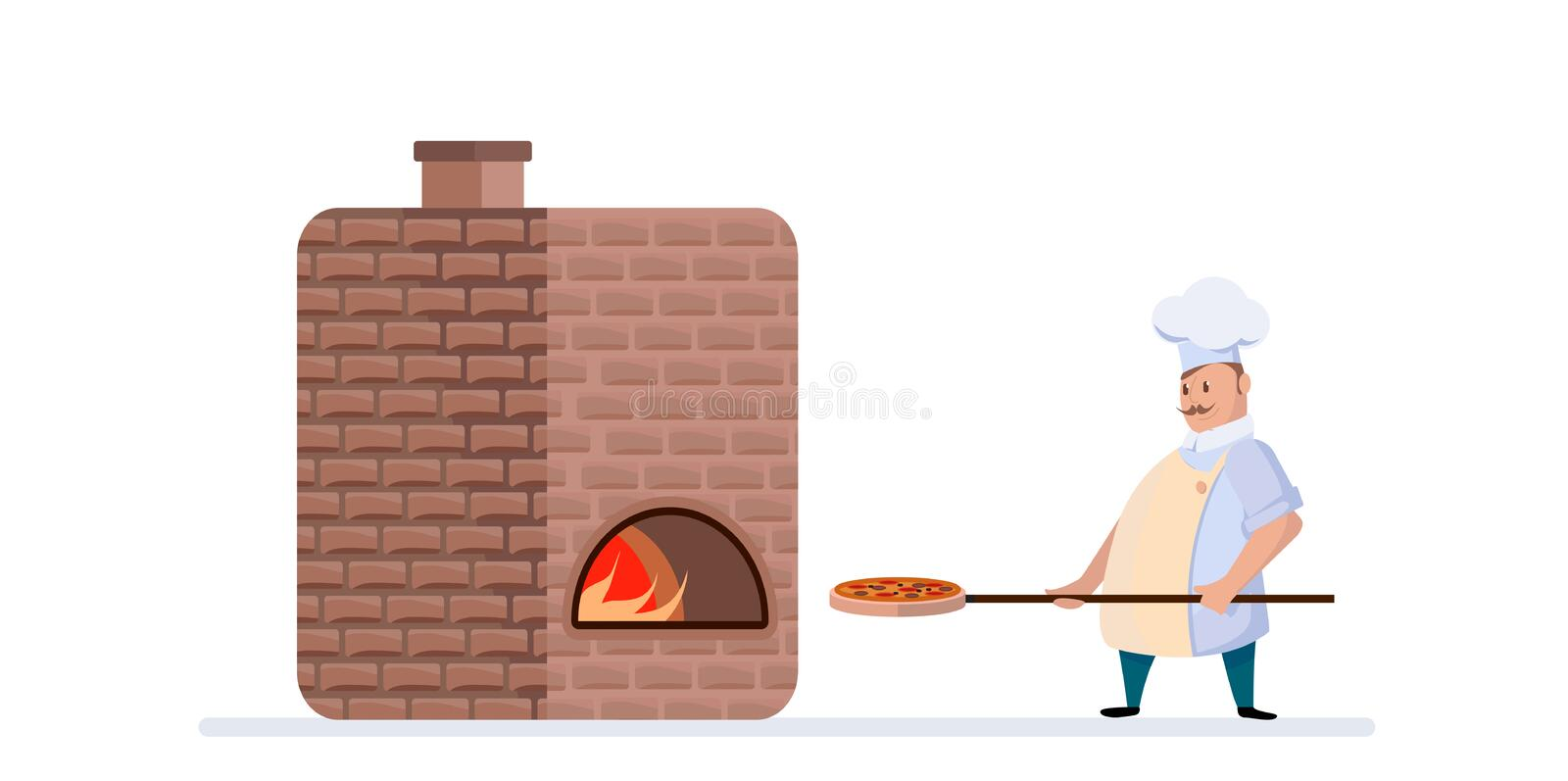 Le chef faisant cuire la pizza dans grand font cuire au four Illustrations de vecteur dans le style de bande dessin?e illustration stock