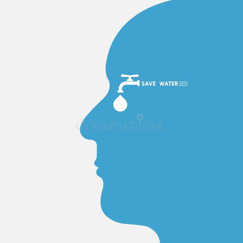 Le chef humain avec la baisse de l'eau et le logo de vecteur d'icône de robinet d'eau conçoivent illustration stock