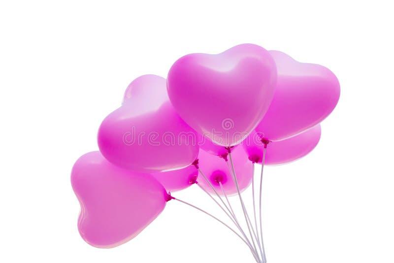 Le chemin de coupure a isolé le groupe de beaux ballons roses image libre de droits