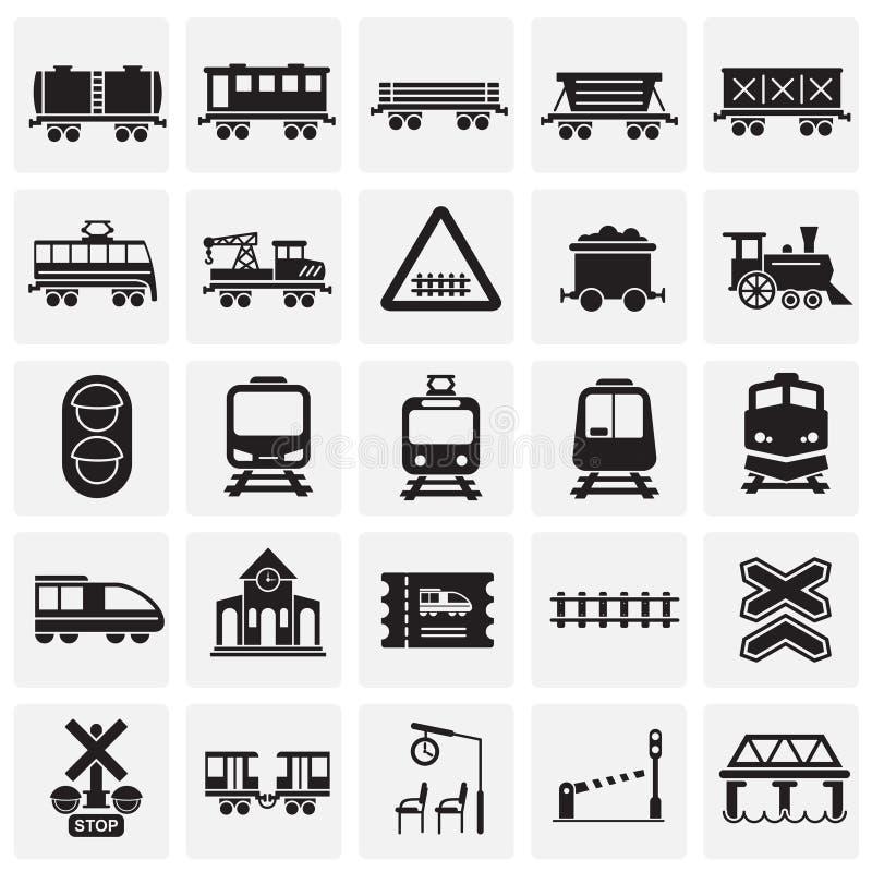 Le chemin de fer a rapporté des icônes réglées sur le fond de places pour le graphique et la conception web Signe simple de vecte illustration libre de droits