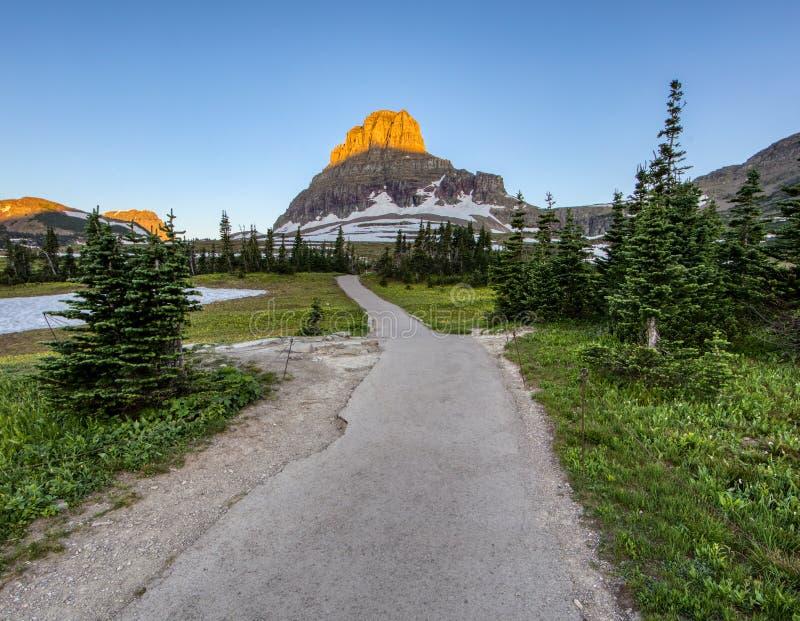 Le chemin pavé de pied coupe des pins pendant qu'il mène à une crête de montagne ensoleillée photographie stock