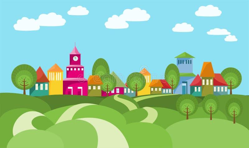 Le chemin vers le village entre Rolling Hills illustration libre de droits