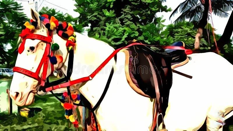 Le cheval blanc est décoré pour la monte illustration de vecteur