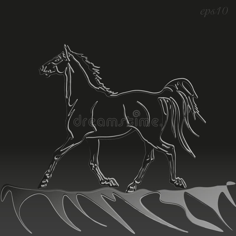 Le cheval fonctionne la nuit illustration de vecteur