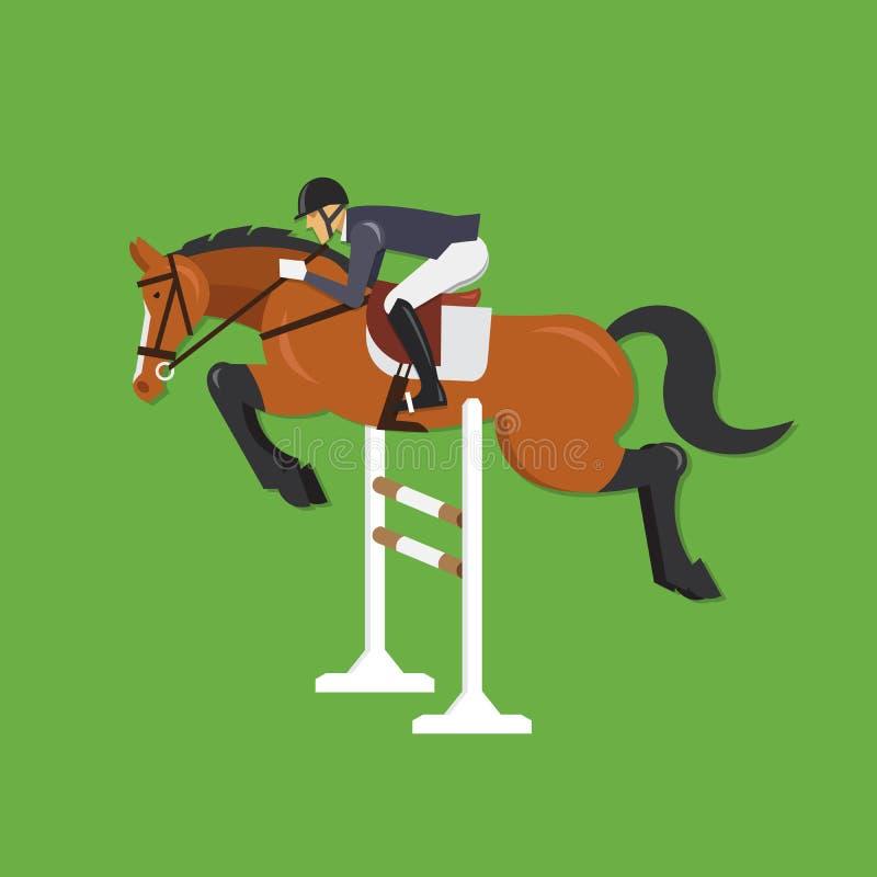 Le cheval sautant par-dessus la barrière, sport équestre illustration de vecteur