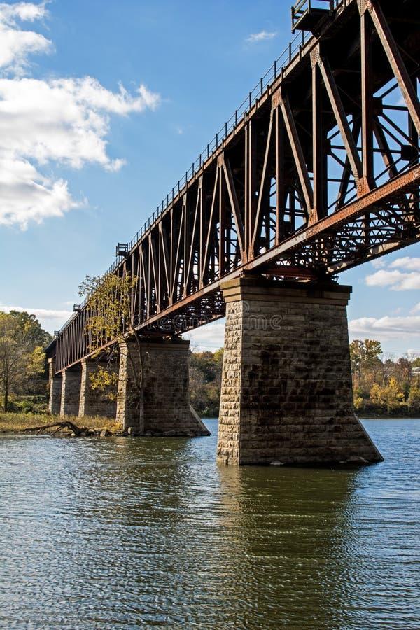 Le chevalet de train enjambe la rivière grande images libres de droits
