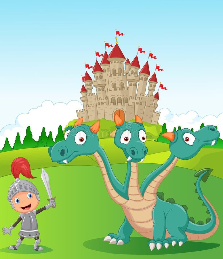 Le chevalier de bande dessinée avec trois a dirigé le dragon illustration libre de droits