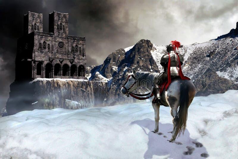 Le chevalier et le château illustration libre de droits
