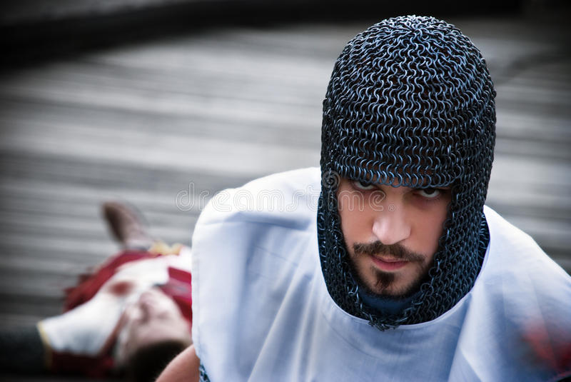 Le chevalier a tué son adversaire images libres de droits