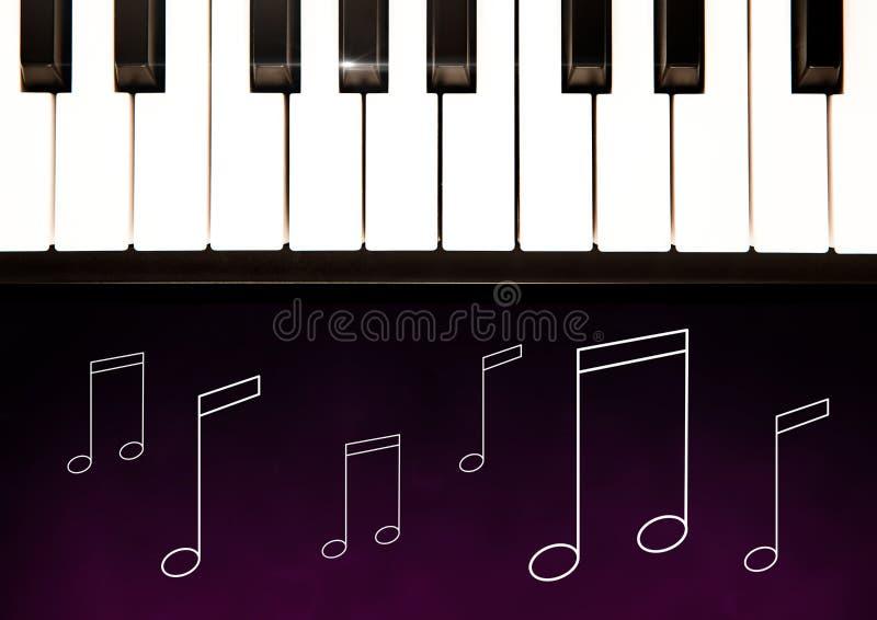 Le chiavi del piano contro fondo porpora con musica notano le illustrazioni royalty illustrazione gratis