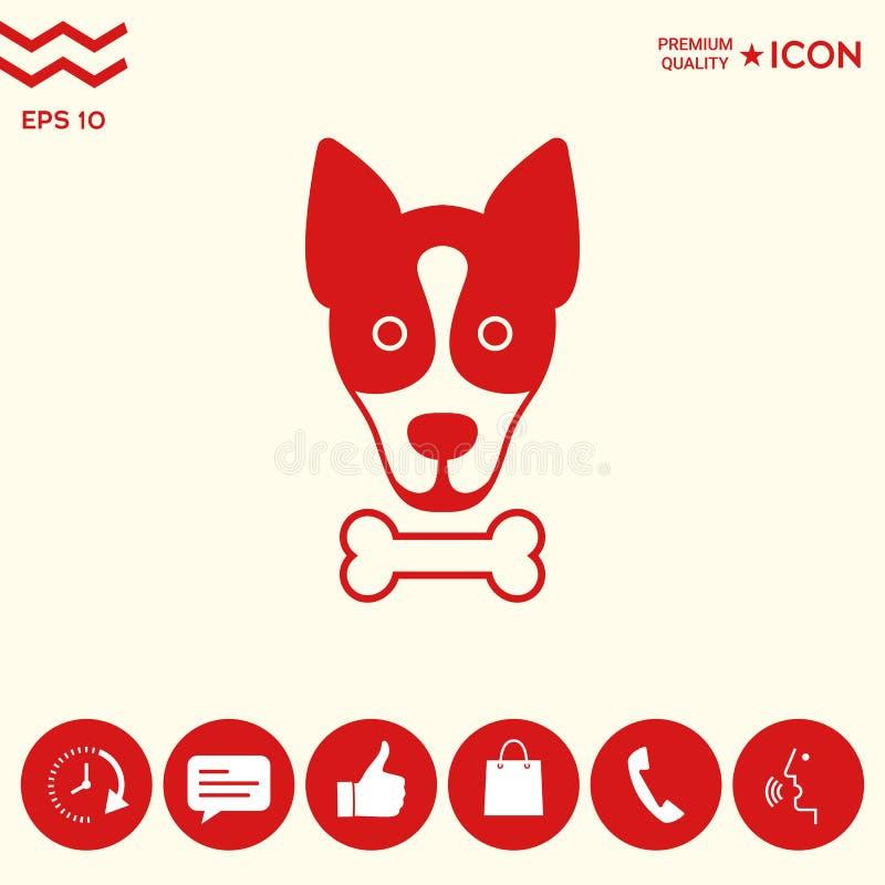 Le chien avec le logo d'os, symbole, protègent le signe, icône Repas pour l'animal familier illustration stock