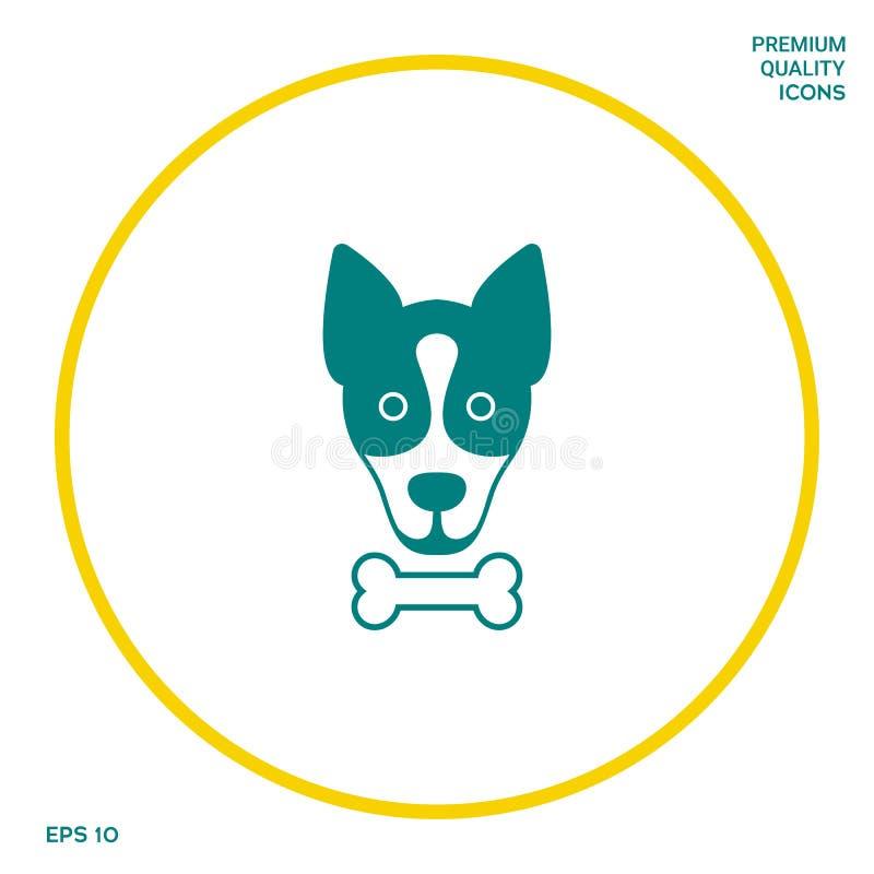 Le chien avec le logo d'os, symbole, protègent le signe, icône Repas pour l'animal familier illustration libre de droits