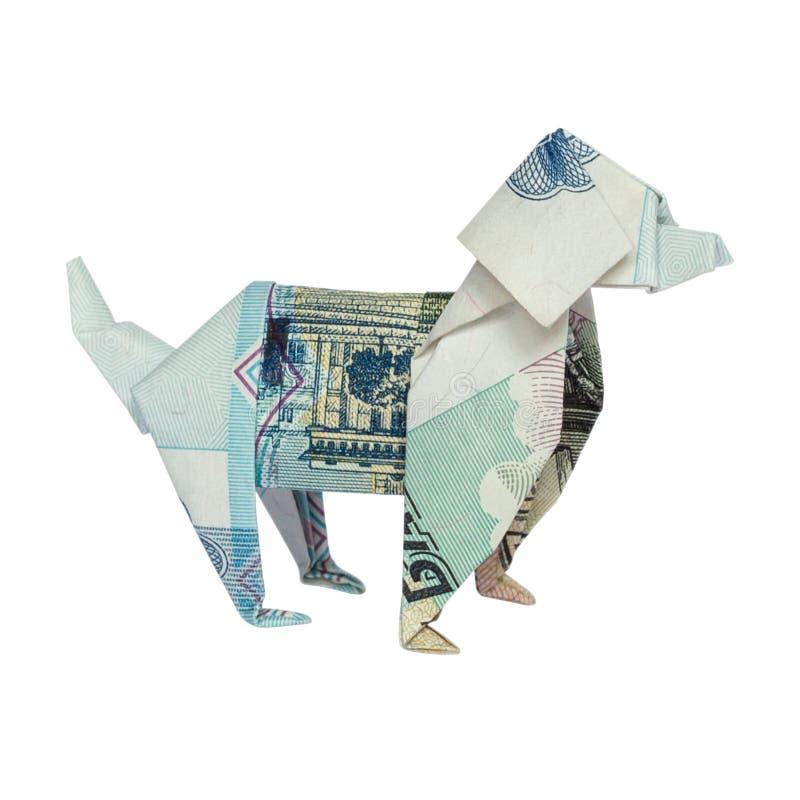 Le CHIEN bleu d'origami a plié 50 roubles russes de Bill Isolated sur le fond blanc image stock