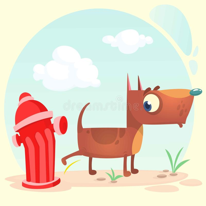 Le chien brun drôle de pitbull de bande dessinée fait pipi sur la bouche d'incendie Illustration de vecteur illustration libre de droits