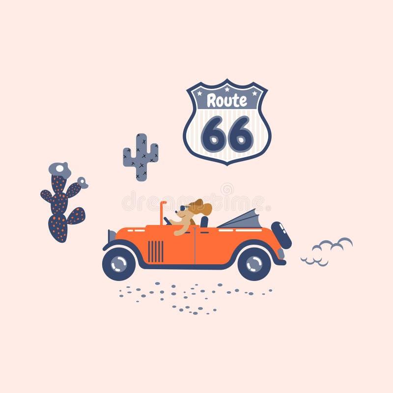 Le chien conduit une rétro voiture sur un itinéraire soixante-six illustration de vecteur