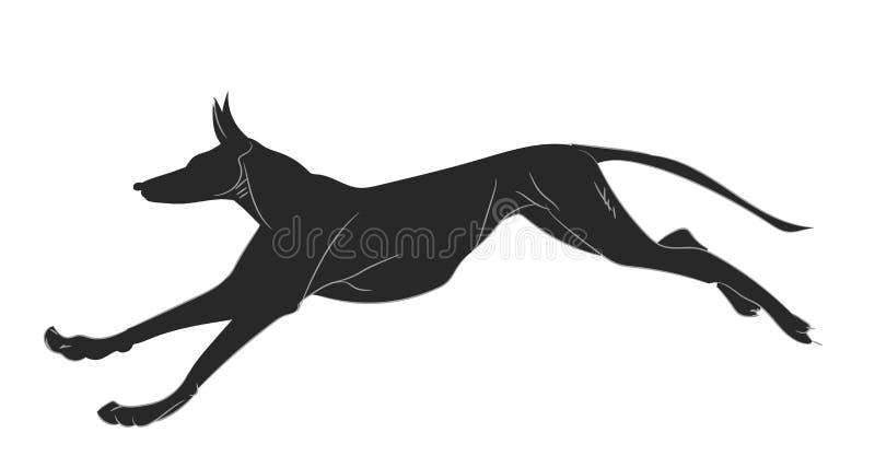 Le chien court la silhouette, vecteur illustration stock