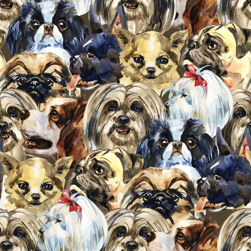 Le chien décoratif multiplie le modèle animal sauvage dans un style d'aquarelle Nom et prénoms de l'animal : chiens Animal sauvag illustration de vecteur