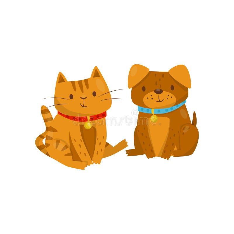 Le chien drôle et le chat se reposant ensemble, les personnages de dessin animé domestiques mignons d'animaux de compagnie, meill illustration de vecteur