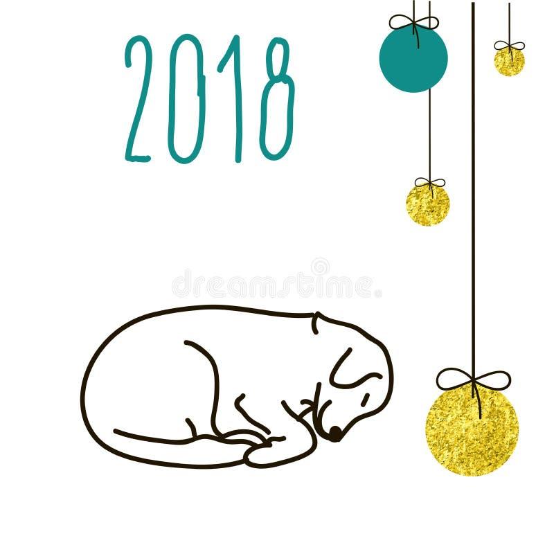 Le chien est un symbole des 2018 nouvelles années chinoises illustration de vecteur