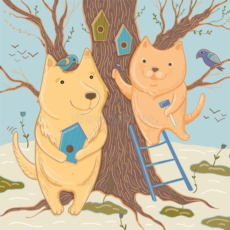 Le chien et le chat d'ute de ¡ de Ð font des volières Illustration de vecteur illustration libre de droits