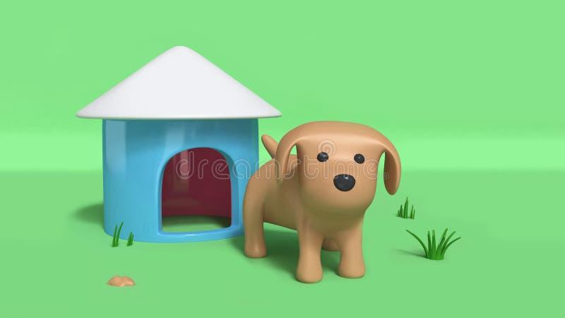 Le chien et la niche 3d de Brown rendent illustration libre de droits