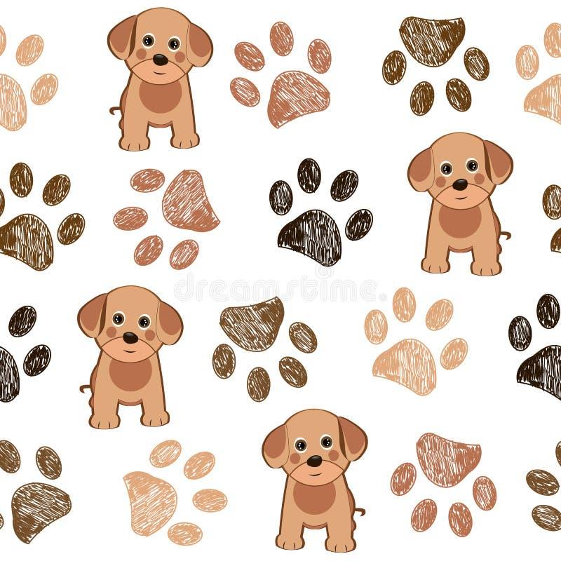 Le chien et la patte mignons de griffonnage imprime le modèle brun de pattes illustration libre de droits