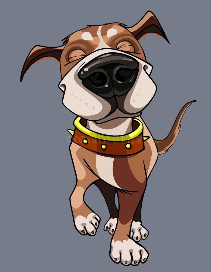 Le chien heureux de bande dessinée utilisant un collier marche illustration stock