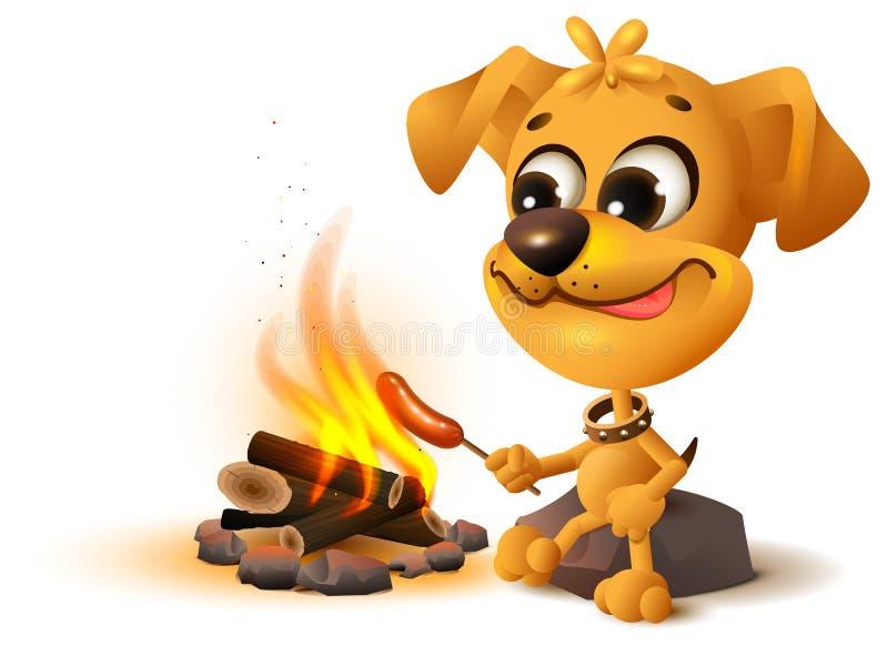 Le chien jaune d'amusement fait frire la saucisse à l'enjeu du feu illustration stock