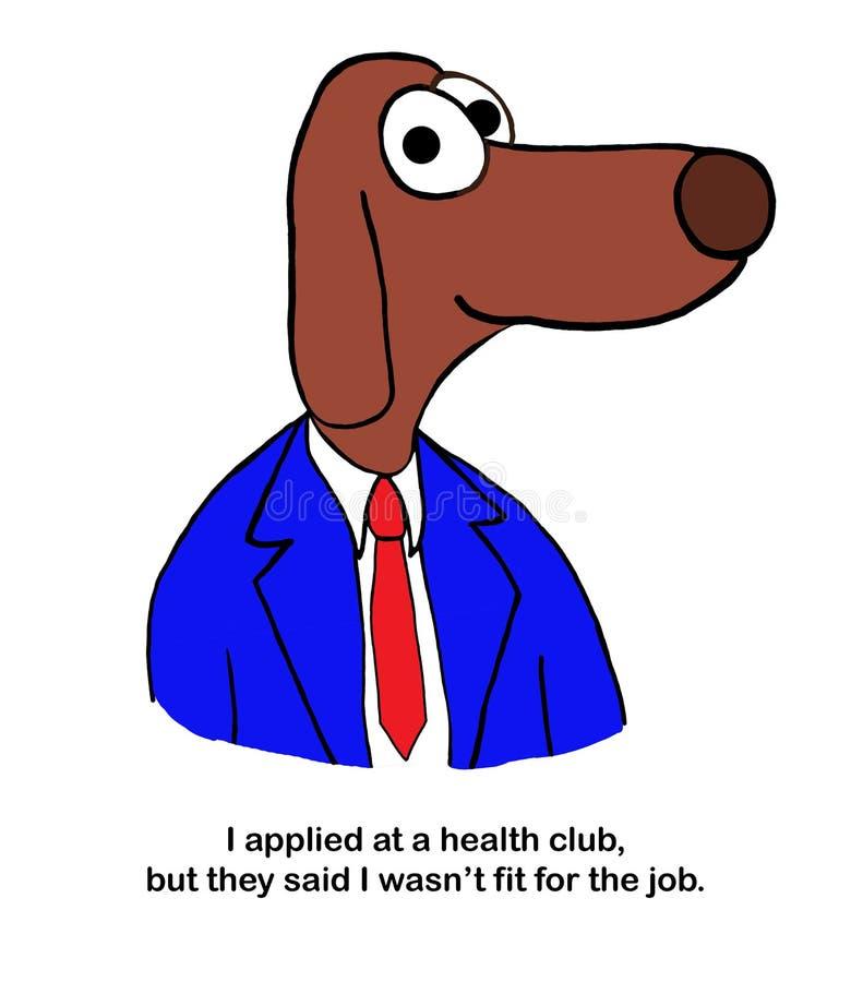 Le chien n'a pas été adapté pour le club de santé illustration stock