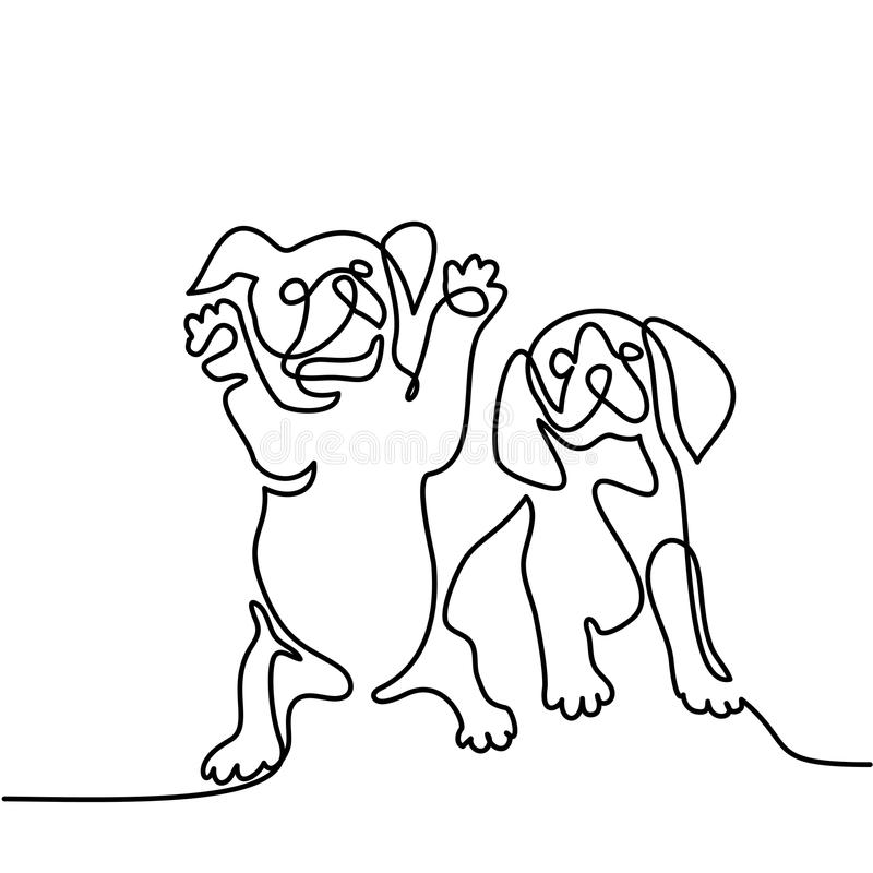 Le chien sautant et jouant illustration de vecteur