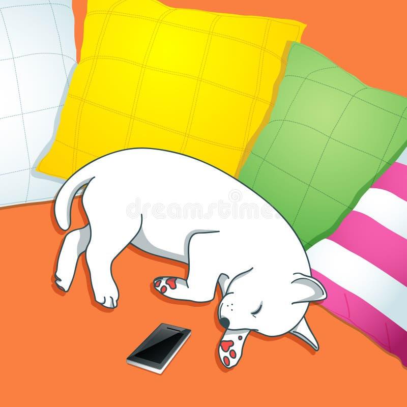 Le chien terrier d'obturation jeûnent en sommeil illustration de vecteur