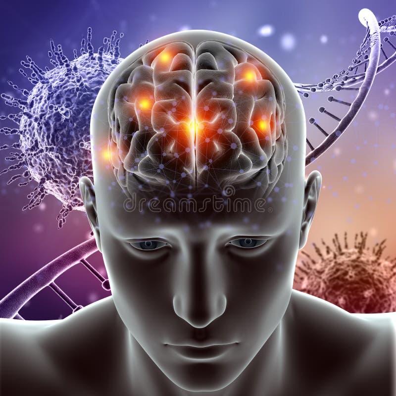 le chiffre 3D médical avec le cerveau a accentué sur les cellules de virus et l'ADN illustration libre de droits