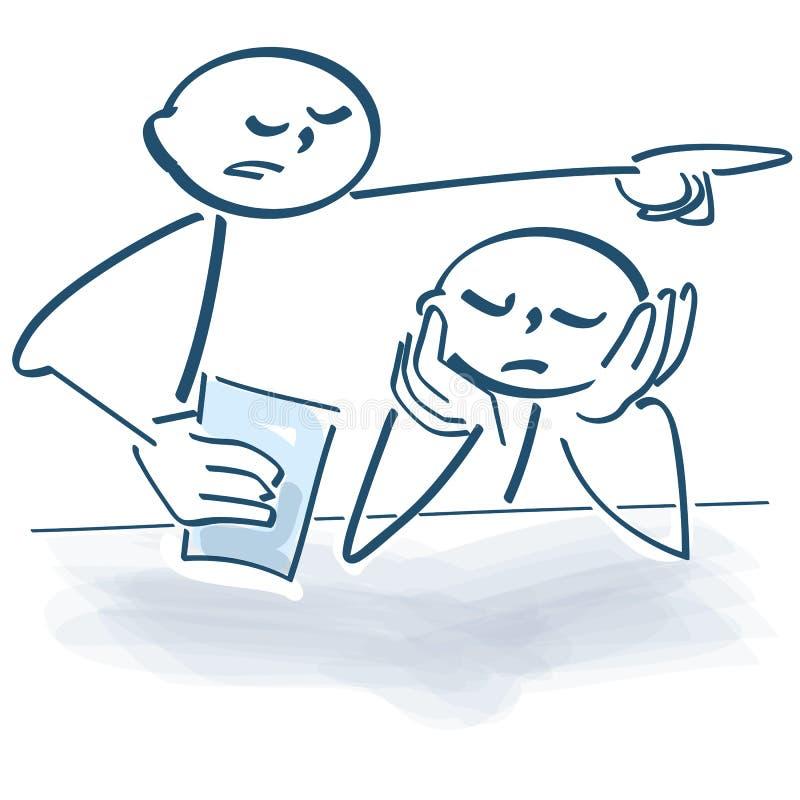 Le chiffre de bâton cause des ennuis comme patron dans le bureau illustration stock
