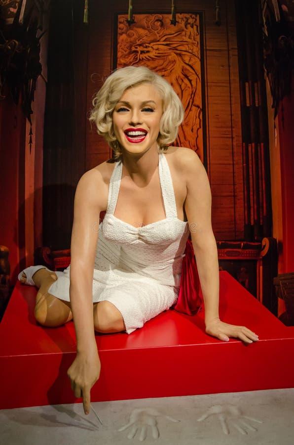 Le chiffre de cire de Marilyn Monroe dans Madame Tussauds Singapore image libre de droits