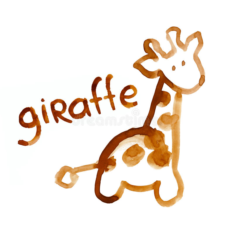 Le chiffre de giraffe s'est adapté pour la perception de l'enfant illustration stock