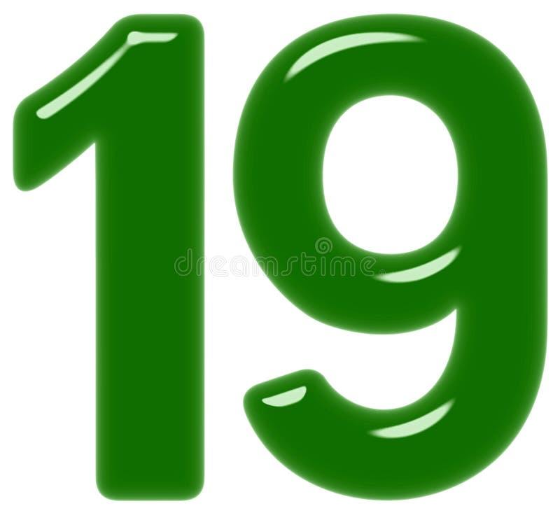 Le chiffre 19, dix-neuf, d'isolement sur le fond blanc, 3d rendent illustration libre de droits
