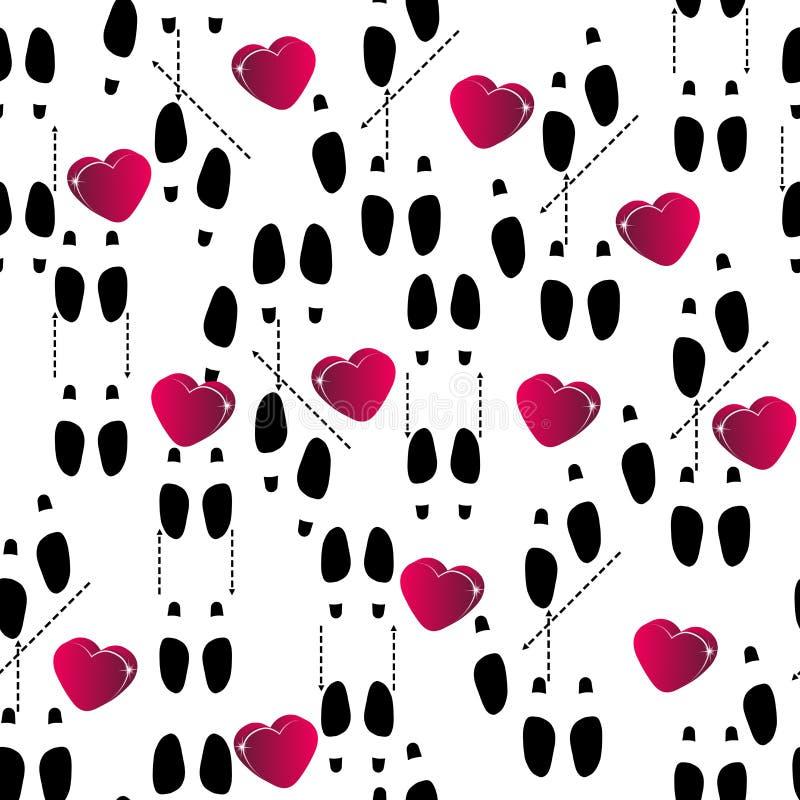Le chiffre montre des empreintes de pas des chaussures de danse au mouvement et aux coeurs illustration stock