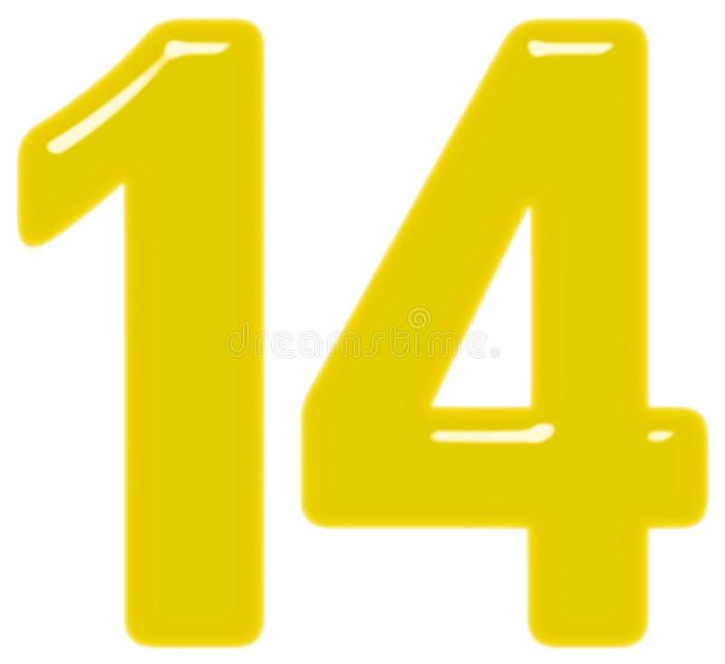 Le chiffre 14, quatorze, d'isolement sur le fond blanc, 3d rendent illustration de vecteur