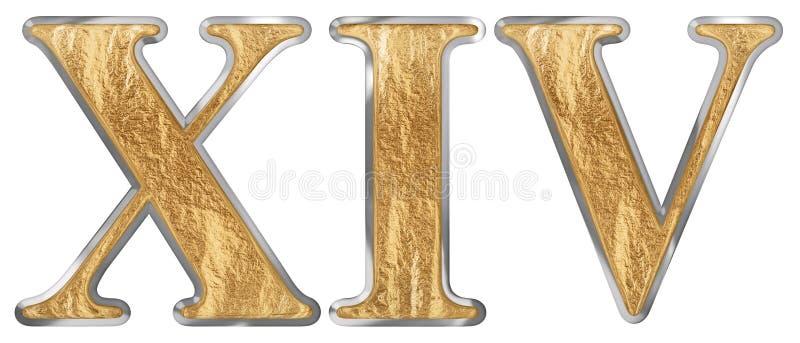 Le chiffre romain XIV, le quattuordecim, 14, quatorze, d'isolement sur le fond blanc, 3d rendent illustration stock
