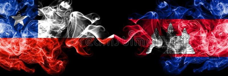 Le Chili contre le Cambodge, drapeaux mystiques fumeux cambodgiens placés côte à côte Épais coloré soyeux fume la combinaison du  illustration stock