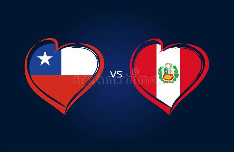 Le Chili contre le Pérou, drapeaux d'équipe nationale sur le fond bleu illustration stock