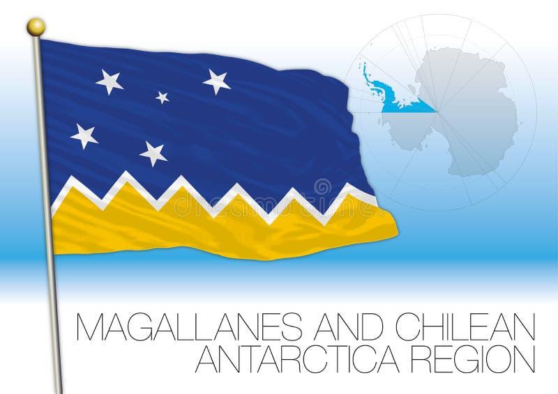 Le Chili, le drapeau antarctique de territoire et la carte illustration de vecteur