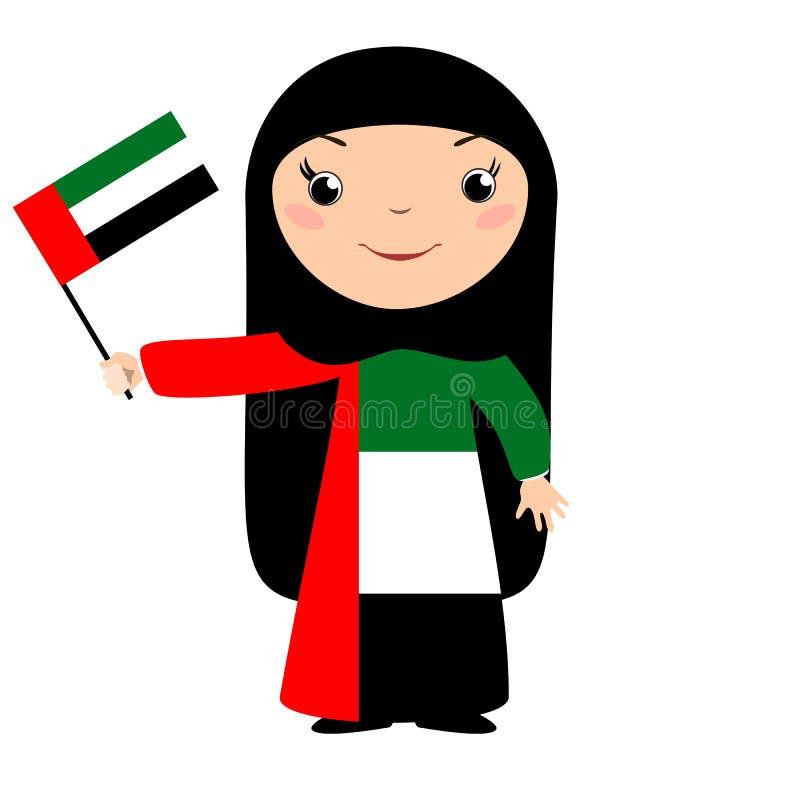 Le chilld, sjunker flickan som rymmer UAE, isolerat på vit stock illustrationer