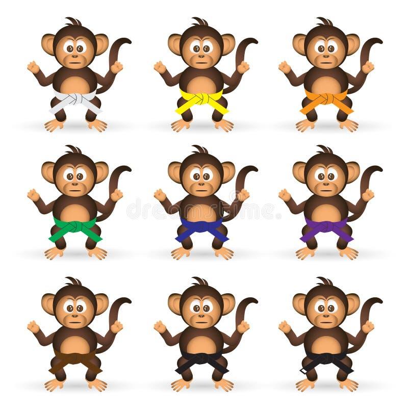 Le chimpanzé mignon a placé avec singe eps10 de ceintures de couleur de formation de karaté le petit illustration de vecteur
